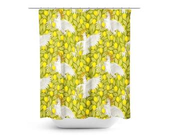 Shower Curtain, Cockatoos and Lemons, Bathroom Decor, Art Nouveau, Birds, Yellow, Green, Parrots