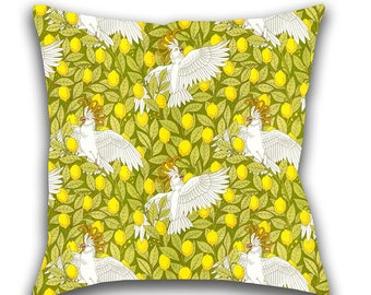 Toss Pillow, Cockatoos and Lemons, Throw Pillow, Art Nouveau, Decorative Pillow, Accent Pillow, Pillow Cover