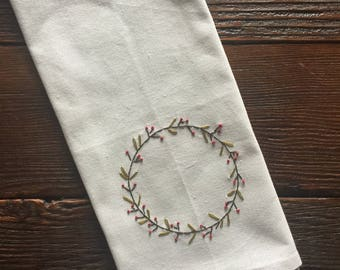 farmhouse christmas wreath handmade kitchen towel christmas decor hand stitched flour sack tea towel secret santa gift gifts under 15
