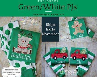 Pre-order - GREEN/WHITE APPLIQUE Christmas Pajamas - One Set - Baby, Toddler, or Child Jammies - PJs - Personalized