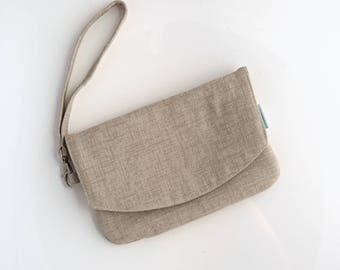 Beige Purse - Cell Phone Wallet Purse - Travel Purse - Birthday Gift for Her - Cellphone Wristlet - Birthday Gift for Her - Ready to Ship