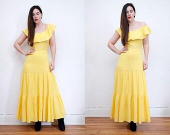 Vintage 70's Cotton Off The Shoulder Bardot Frill Dress  Maxi Dress Sz S M