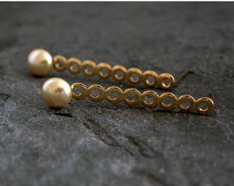 SALE - Gold Pearl Wedding Earrings, Gold Pearl Earrings, Bridesmaids Earrings, Bridal Post Earrings, Long Stud Earrings, Pearl Bridal