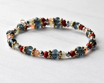 Bead Bracelet, Blue Red Gold Pink, Gift for Her, Metallic Beads,  Bead Bangle, Multicoloured Bracelet, Bracelet UK