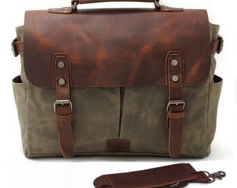 LEATHER and Green Canvas Messenger Bag NEW Waterproof