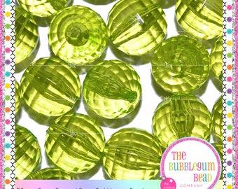 20mm BRIGHT GREEN TRANSPARENT Disco Bead, Bubblegum Chunky Bead, Gumball Bead, Acrylic Bead, Round Bead, Diy Supply, The Bubblegum Bead Co