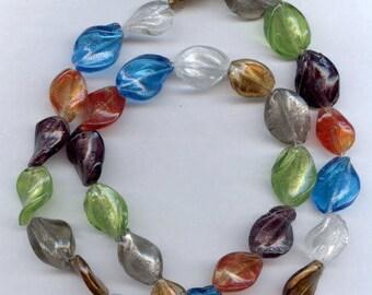 Wavy Glass Metallic Beads