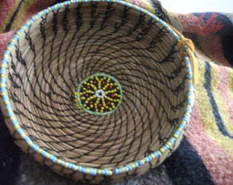Pine Needle Basket,Handwoven Basket,Beaded Native American Basket,Coil Basket,Woven Gift,Unique Home Décor,Natural Color Basket