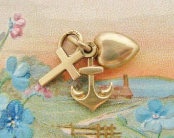 Antique French 18k gold filled puffy charm Faith Hope and Charity by Oria