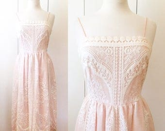 70s lace dress, crochet sun dress, Ivory and pink S