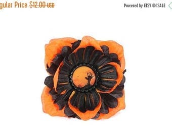 FLASH SALE Orange and Black Zombie Hand Pinup Hair Flower Clip