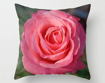 Cherish rose throw pillow, pillow cover, decorative throw pillow, nature inspired living room decor, Christmas gift for her
