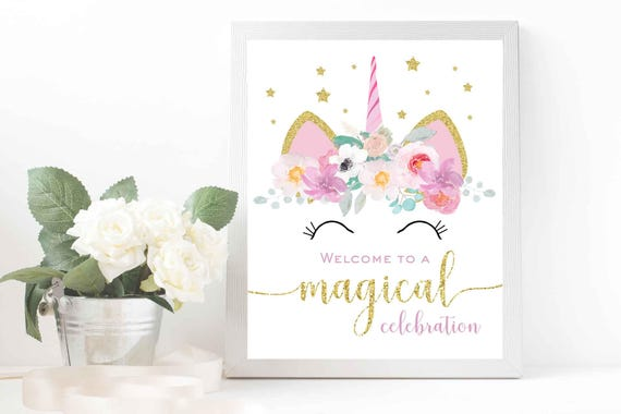 Unicorn birthday party sign Magical unicorn welcome sign