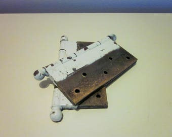 Vintage Large Brass Door Hinges, Set of Two, Chippy White Over Brass, Antique
