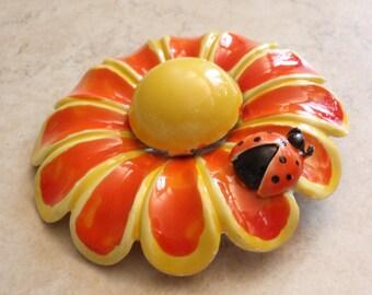 Weiss Flower Brooch Ladybug Large Orange Yellow Enamel Vintage 051116BT