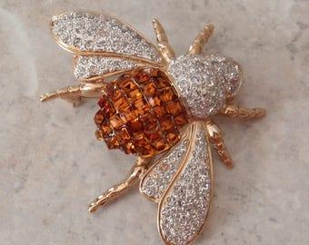 Rhinestone Bee Pin Brooch VogueBijoux Amber Crystal Made in Italy Vintage 071815AR
