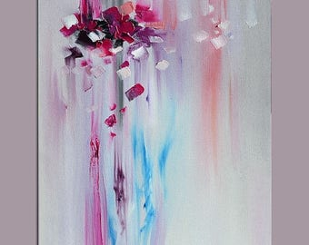 70% off ORIGINAL Oil Painting Elegance Brush and Palette knife Textured Foggy Soft Grey Purple Handmade Art by Marchella
