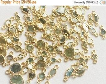 ON SALE 55% 1 Pc Blue Slice Raw Diamond Connector, 925 Silver Gold Plated Diamond Slice Connectors, Uncut Diamond, Double Loop - DS249