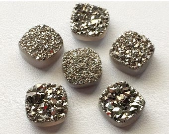 ON SALE 55% Dark Silver Druzy,Titanium Dark Silver Druzy, Matched Pairs, Cushion Druzy, Druzy Jewelry, Silver Druzy Cabochon, Druzy Bead, 4