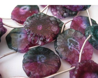 ON SALE 55% Solar Quartz Beads, Colored Slices, 22mm Approx, 8 Inch Strand, 8 Pieces Approx