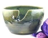 Large Ceramic Yarn Bowl Green Handmade Pottery Gift for Knitters Crochet Knitting - Knitting Organizer - wool storage - by DeeDeeDeesigns