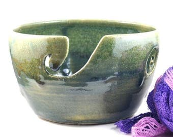 Large Ceramic Yarn Bowl Green Handmade Pottery Gift for Knitters Crochet Knitting - Knitting Organizer - wool storage - by DeeDeeDeesigns