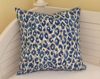 Animal Print Design in Blue and Gray Indoor Outdoor Pillow Cover - Square, Lumbar and Euro Sizes