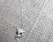 Silver Micro Pave Crystal Fox Sterling Silver Necklace  Fine Curb Chain Foxes Kitsune Japanese trickster jewellery