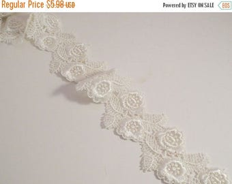 ON SALE Ivory Floral Design Venise Lace Trim  Wide--One Yard