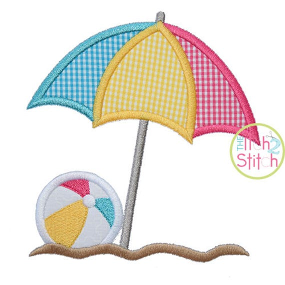 Beach umbrella ball applique design for machine embroidery