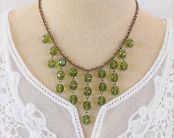 Olive Green Necklace, Bib Statement Necklace, Art Deco Necklace, Drop Necklace, Beaded Necklace, Green Glass Necklace, Olivine Necklace