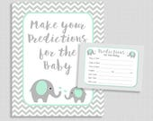 Predictions for the Baby Game Sign & Cards, Mint Elephant and Grey Chevron Shower Activity, Guess Baby Weight, Baby Stats, INSTANT PRINTABLE