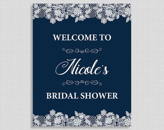 Bridal Shower Welcome Sign, Personalized Wedding Shower Welcome Sign, Navy & White Lace, DIY PRINTABLE