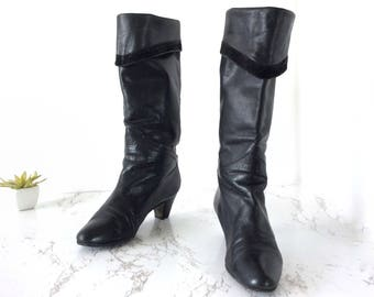 Womens boots size 6.5, black boots 6.5, 80s boots size 6, vintage boots size 6, black vintage boots 6, size 6 womens boots, knee high boots