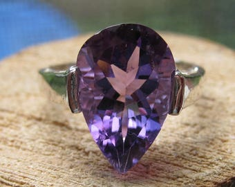 Sterling Silver Women's Ring with Lab Created Amethyst Stone Size 7