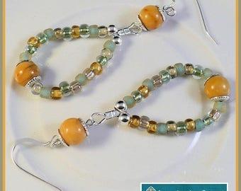 Yellow and Green Beaded Hoop Earrings, Sterling Silver Earrings, Gemstone Jewelry, Beaded Long Earrings, Yellow Jasper Earrings