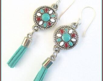 Bohemian Tassel Earrings Suede Cord Sterling Filled Hooks Enamel Metal Turquoise Silver Red White Trendy Hippie Tassel Jewelry 2-1/2in