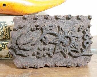 Printing Block 6 x 4 Vintage Indian Fabric Art Tool Kudzu Vine