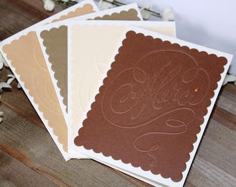 Set of 4 Handmade Thank You Notes, French Themed, Merci, Earth Tones, Embossed, Blank Inside