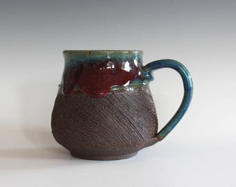 Pottery Coffee Mug, 14 oz, handthrown ceramic mug, stoneware pottery mug, unique coffee mug