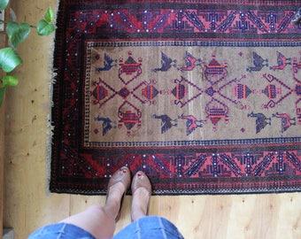vintage Persian rug, earthy rustic geometric bird motif rug, happy bohemian wool rug