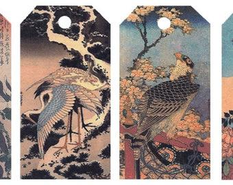 12 Shipping (Gift) Tags Hokusai Birds 022