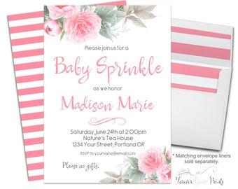 Baby Sprinkle Invitation Girl - Baby Sprinkle Invite - Floral Baby Sprinkle - Girls Baby Sprinkle - Floral Baby Shower - Pink Flowers