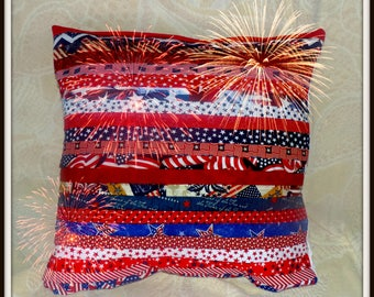 Pleated Pillow, Red white and blue, Patriotic Pillow, Designer Pillow, summer pillow, texture pillow