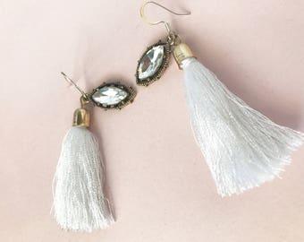 White Tassel Charmed Earrings