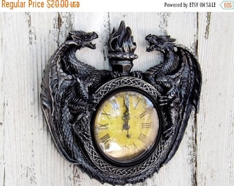 ON SALE Dragon Decor  /Fantasy /Game of Thrones / Dragon  Clock /Antique Silver/ Mid Evil / Gothic / Steam Punk