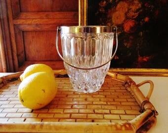 Vintage Crystal Mini Ice Bucket with Handle, Hollywood Regency Ice Bucket, Vintage Barware