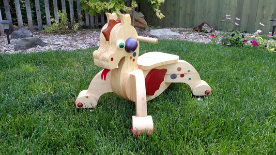 Wooden Dragon Riding Scooter Handcrafted- Toddler.  Rudy: The Red Winged Dragon MADE in the USA by Spinderellas Creations