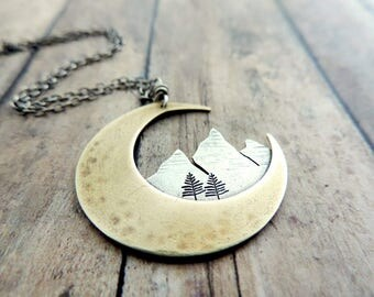 Crescent Moon Necklace - Mountain Necklace - Nature Jewelry - Celestial Jewelry - Mixed Metal Necklace - Gift for Outdoor Woman