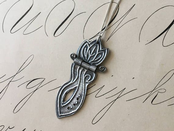 Silver Leaf Necklace, Leaf Pendant, Hinge Pendant, Art Nouveau Jewelry